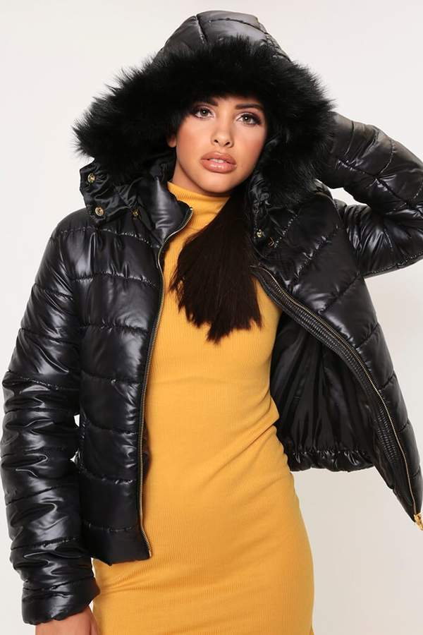 Isawitfirst Black Padded Jacket With Faux Fur Hood