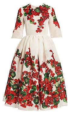 Dolce & Gabbana Dolce& Gabbana Dolce& Gabbana Women's Embroidered Elbow-Sleeve Floral Print Dress