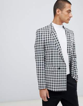 Asos DESIGN skinny double breasted blazer in monochrome check