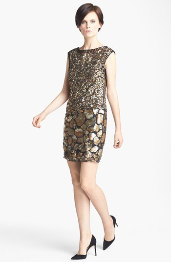 Tracy Reese Cheetah Detail Sequin Dress