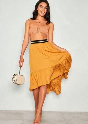d3f558af79 Missy Empire Missyempire Orla Mustard Ruffle Drop Hem Skirt