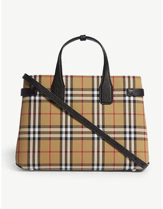 Burberry Black and Brown Check Banner Tote Bag