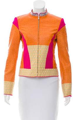 Pollini Patterned Leather Jacket w/ Tags