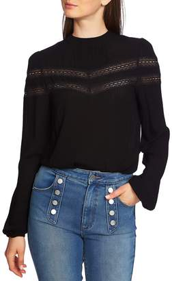 1 STATE 1.STATE Sheer Stripe Lace Inset Blouse