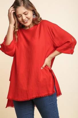 Umgee USA Frayed Red Tunic