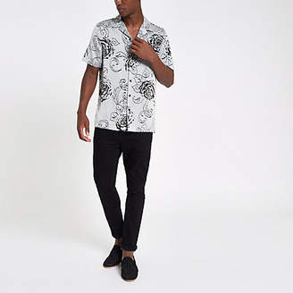 River Island Grey floral print revere shirt