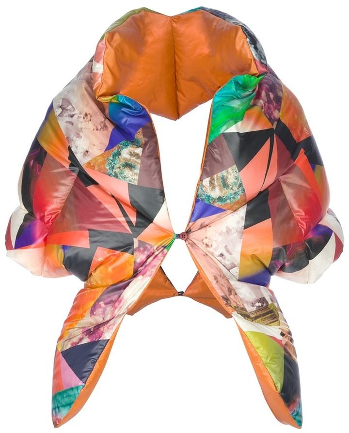 Issey Miyake patchwork print shrug