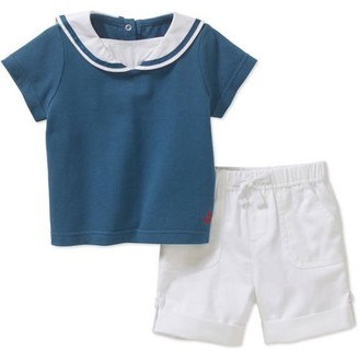 Quiltex Newborn Baby Boy Sailor Collar Top with Drawstring Shorts Outfit Set