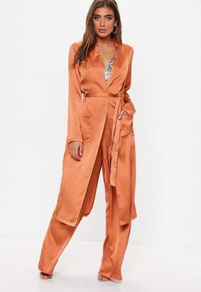 Missguided Terracotta Satin Tie Waist Duster Jacket