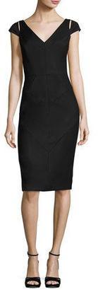 Milly Larissa Short-Sleeve Italian Gabardine Sheath Dress $525 thestylecure.com