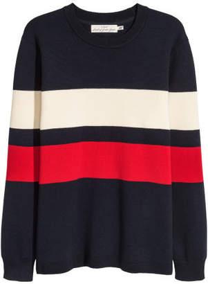 H&M Fine-knit Cotton-blend Sweater - Blue
