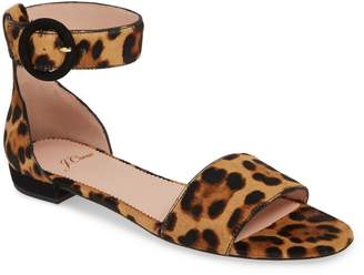 J.Crew Leopard Print Calf Hair Ankle Strap Flat Sandal