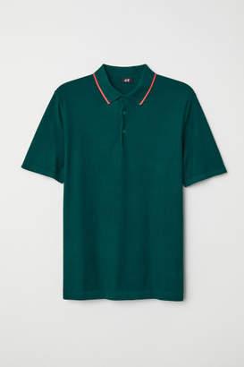 H&M Fine-knit Polo Shirt - Green