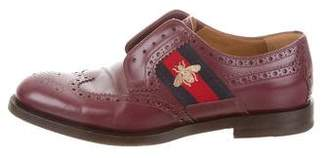 Gucci Leather Bee Web Brogues