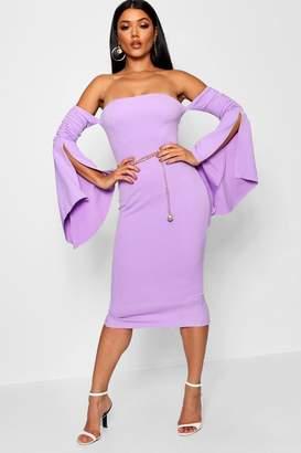 boohoo Ruched Sleeve Bardot Midi Dress