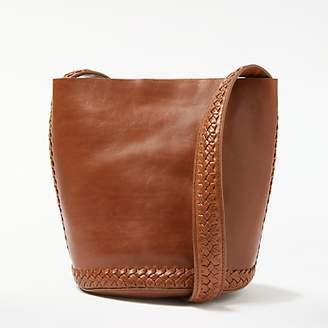 Isabella Collection AND/OR Leather Whipstitch Small Bucket Bag, Tan