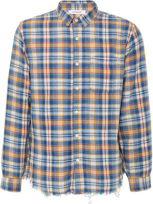 Frame Frayed-Hem Plaid Cotton Button-Up Shirt