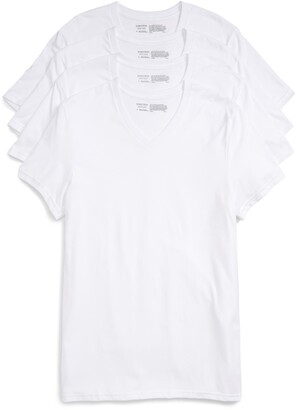 Nordstrom Mens Shop 4-Pack Trim Fit Supima® Cotton V-Neck T-Shirts