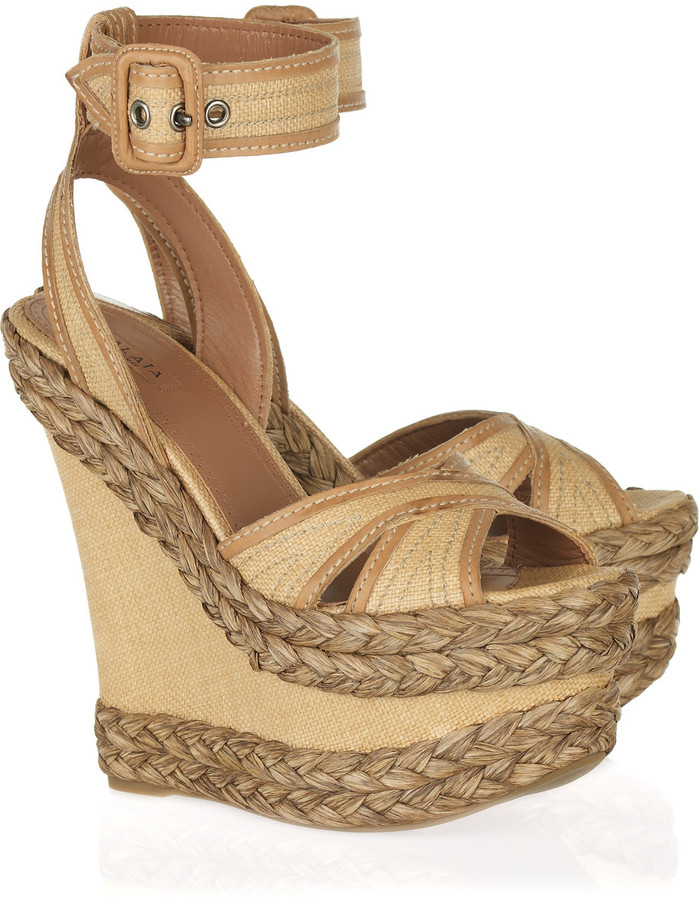 Alaïa Raffia platform wedge sandals