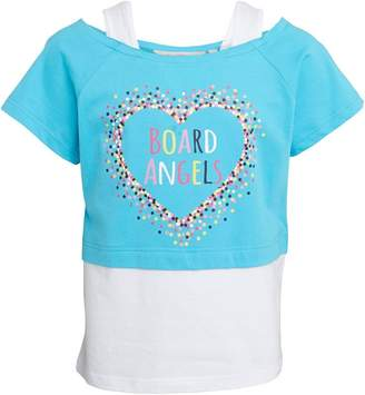 Board Angels Girls Short Sleeve Top With Heart Print Turquoise/White
