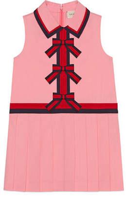 Gucci Sleeveless Web-Trim Bow Dress, Size 4-12