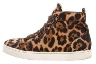 Christian Louboutin Ponyhair High-Top Sneakers