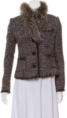 Magaschoni Tweed Fur-Trimmed Jacket