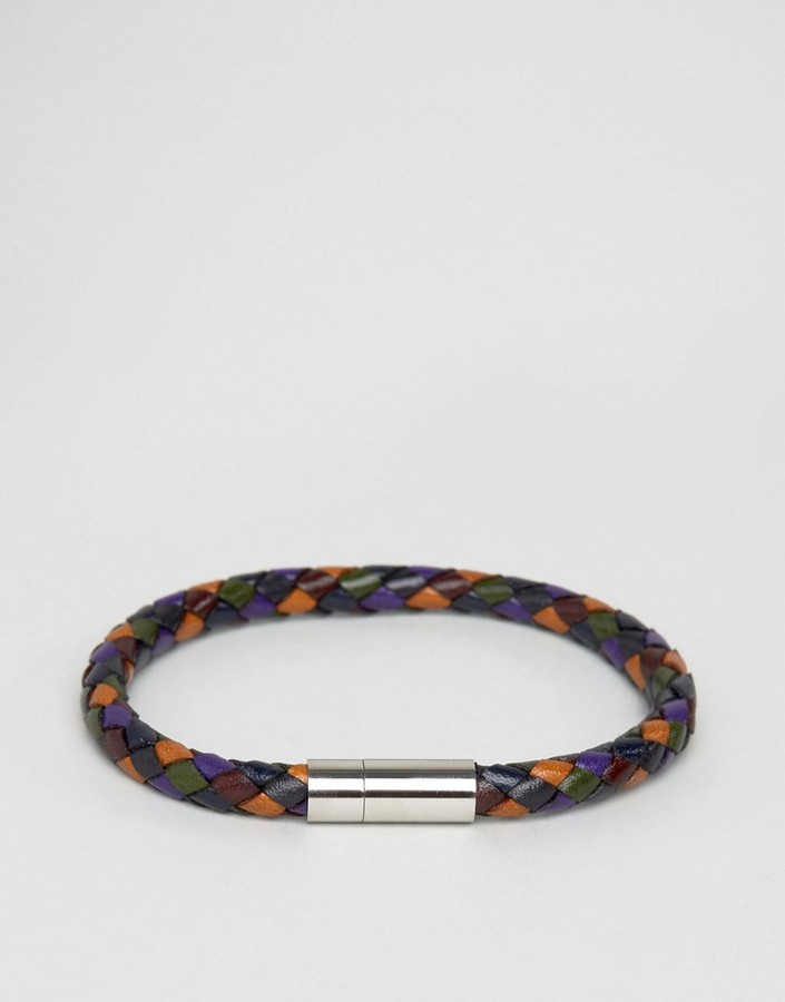 Paul Smith Paul Smith Leather Woven Bracelet In Multi