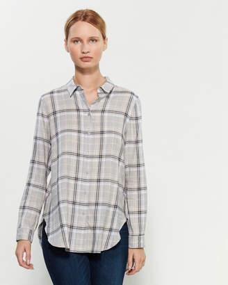 Calvin Klein Double Cross Plaid Long Sleeve Boyfriend Shirt