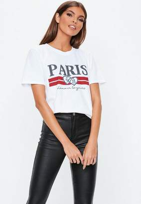 Missguided White Paris 98 Graphic T Shirt