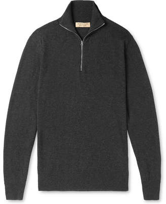 Burberry Cashmere and Cotton-Blend Half-Zip Sweater