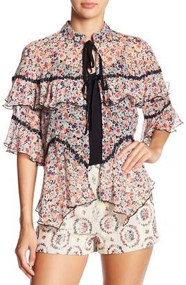 Anna Sui Scattered Flowers Tie Up Silk Blouse