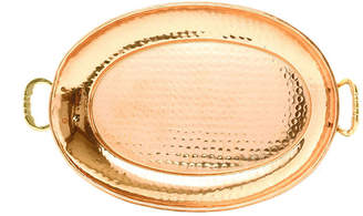 Old Dutch Hammered Dcor Copper Oval Tray with Cast Brass Handles