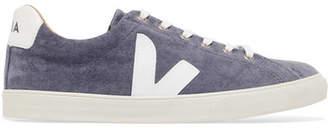 Veja V-10 Bastille Leather-trimmed Velvet Sneakers