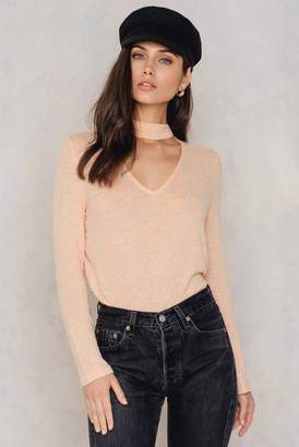 NA-KD Na Kd Deep Front Knitted Sweater Cloud