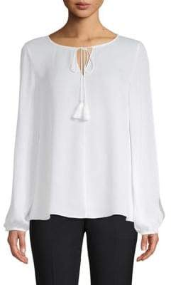 St. John Slit Long-Sleeve Silk Blouse