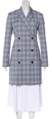 Theory Plaid Double-Breasted Knee-Length Coat
