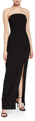 WAYF The Milla Strapless Bonded-Bodice Column Gown w/ Thigh Slit