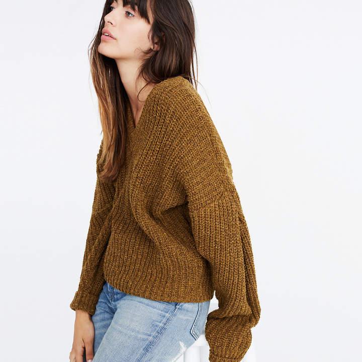 Pleat-Sleeve Pullover Sweater
