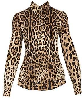 0bd03b477bc6 Dolce & Gabbana Women's Stretch Silk Leopard Print Blouse