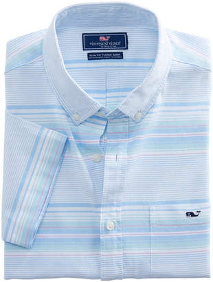 Vineyard Vines Short-Sleeve Sand Piper Stripe Oxford Slim Tucker Shirt