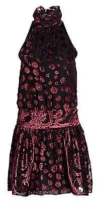 Ramy Brook Women's Naima Sleeveless Velvet Turtleneck Blouson Dress