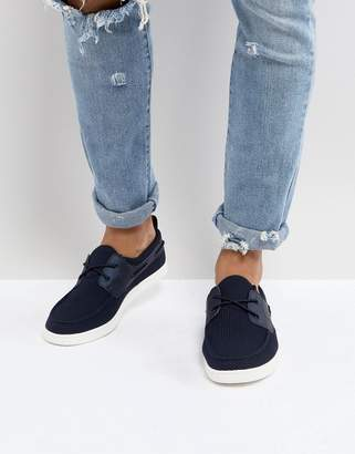 Asos Boat Shoes In Navy Mesh