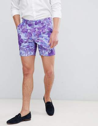 Asos Design Slim Mid Short In Blue Floral Linen Look