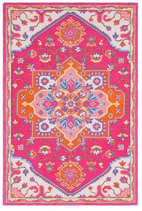 Surya Technicolor Traditional Bright Pink, Bright Orange Area Rug