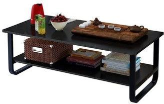DL furniture - Tea Table Coffee Table Desk - Multi Function Wood & Steel Living Room Table - 2 Tier Polished Surface | Black