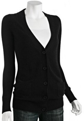 CeCe black cashmere v-neck long cardigan