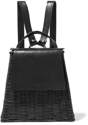 Wicker Wings Tixing Tall Rattan And Leather Backpack - Black