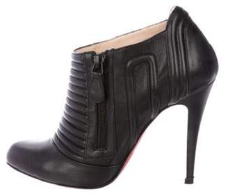 Christian Louboutin Leather Ankle Booties Black Leather Ankle Booties