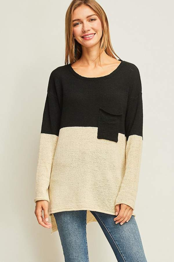 Colorblock Hi-Low Sweater